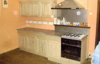 Meuble de cuisine en ch ne et granit sur mesure for Meuble cuisine chene