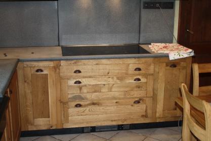 meuble de cuisine - en chêne et granit sablé - sur mesure - meuble ... - Meuble De Cuisine Sur Mesure