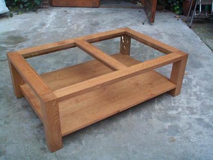 Table Basse Moderne Sur Mesure Table Bois Verre Meuble Marcelis Luc